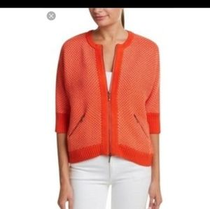 NWOT CAbi orange cocoon grenadine zippered sweater